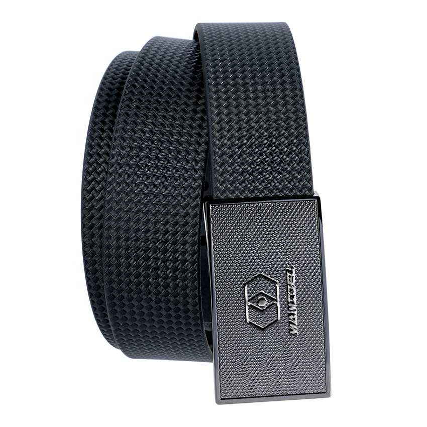 High Strength Fashionable Form Silver Flat Buckle Grain Leather Belt for promotional gift
