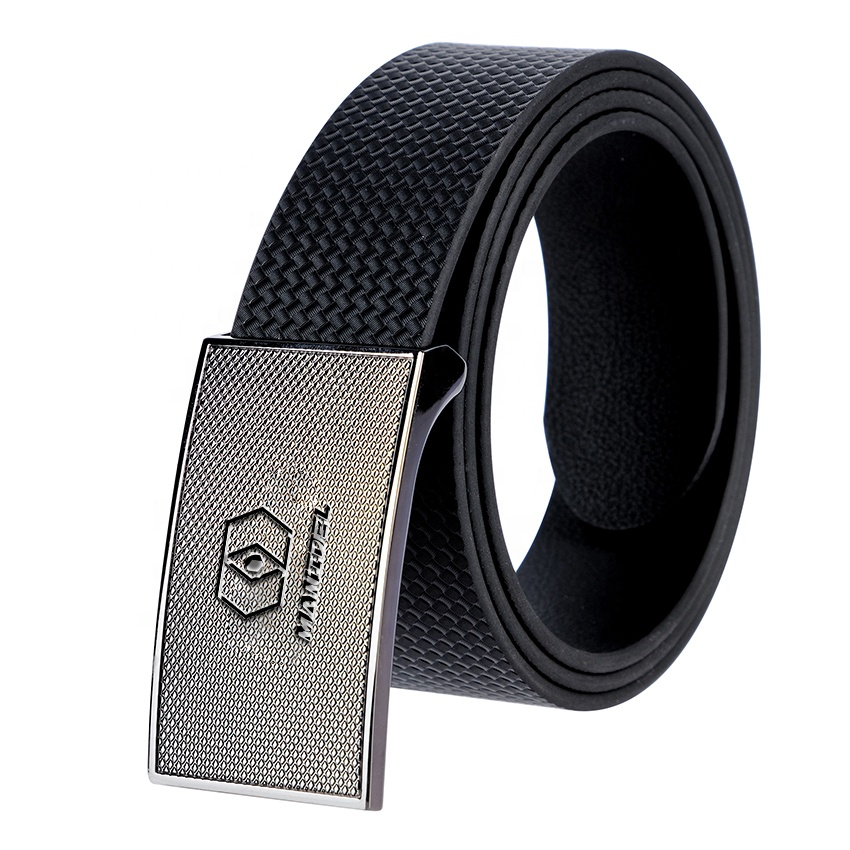 Wholesale Adjustable Luxury Fashion Customized Designer Brand Black Vegan Leather Men Belt