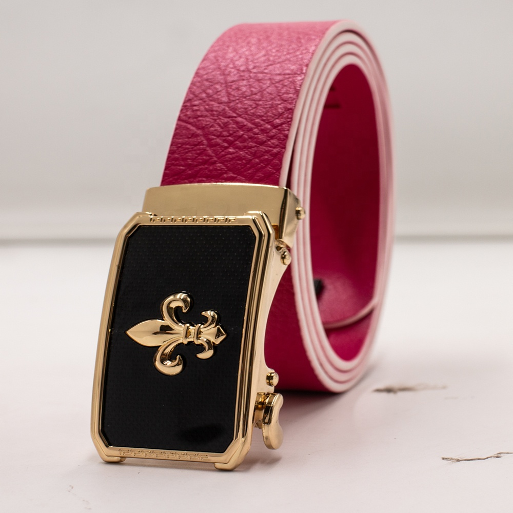 Wholesale 1 inch Promotional women kids fashion adjustable automatic ratchet vegan leather belt for golf